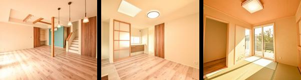 リビングは、折り上げ天井と化粧梁が空間のアクセントになっています