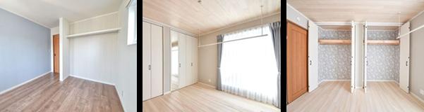 各部屋ごとに床材の色、クロスをチョイス。快適で、居心地の良い住空間を実現しました